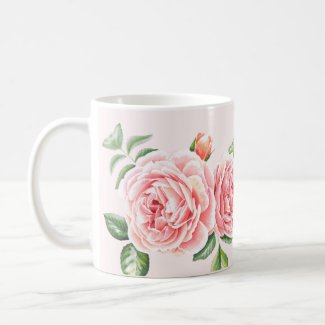 Mug - Floral Rose Design - in pale Pink