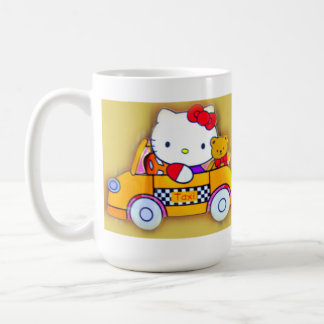 Mug for Children. Teddy Bear and Mom hire a Taxi