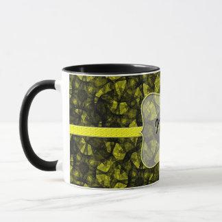Mug fractal art black and yellow
