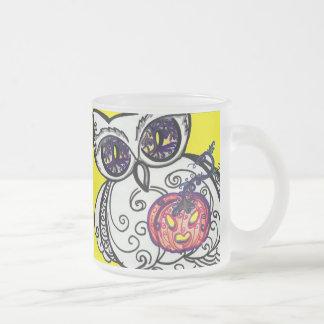 Mug, frosted Owl & Jack-O-Lantern tribal scroll