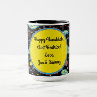 """Mug """"Hanukkah Paisley Dreidels and Stars"""""""