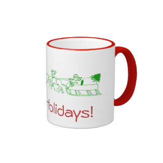 Mug - Happy Holidays with Santa's Sleigh