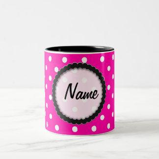 Mug  Hot Pink and Black Polka Dot
