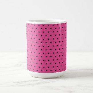 Mug/Hot Pink & Black Polka Dots Basic White Mug