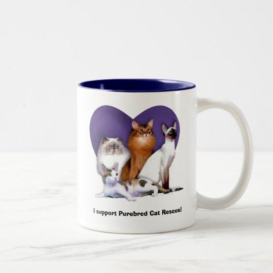 Mug: I Support Purebred Cat Rescue Two-Tone Coffee Mug