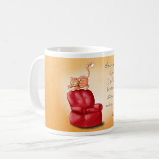 Mug illustrated with a cat scratching an armchair