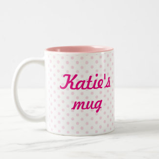 ♥ MUG ♥ KATIE white pink polka dots girly gift