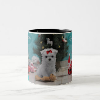 Mug - Maltese Puppy waits for Santa