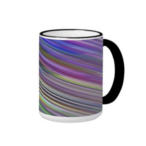 Mug. Multicoloured sweeping stripes.