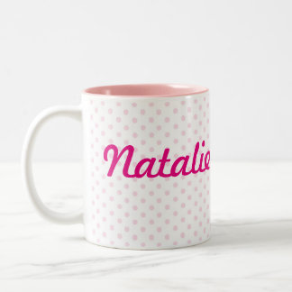 ♥ MUG ♥ NATALIE name white pink polka dot girly