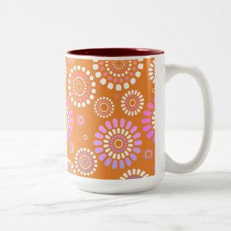 Mug Orange With Flowery Subject