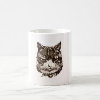 Mug reproduction cat vintage illustration