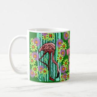 Mug Retro Crazy~Daisies Jungle Pink Flamingos