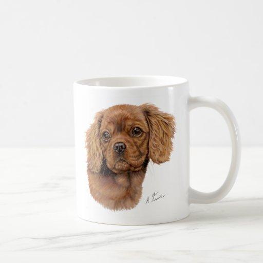 Mug, Ruby cavalier king charles spaniel puppy