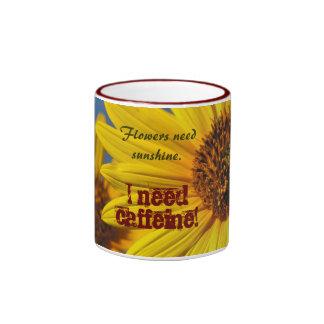 Mug: Sunflowers And Caffeine Ringer Mug