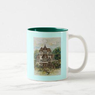 mug victorian house watercolor