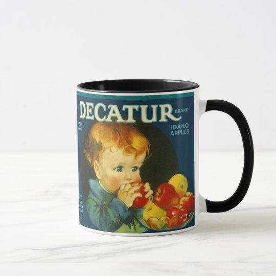 MUG ~ VINTAGE DECATUR BRAND APPLE CRATE LABEL!