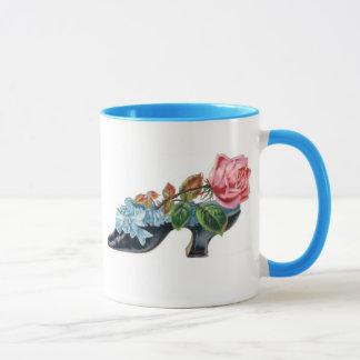 Mug Vintage Floral Shoe Bouquet Blue Pink
