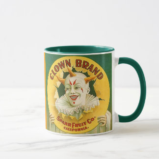 MUG ~ VINTAGE FRUIT CRATE LABEL~  CLOWN DESIGN
