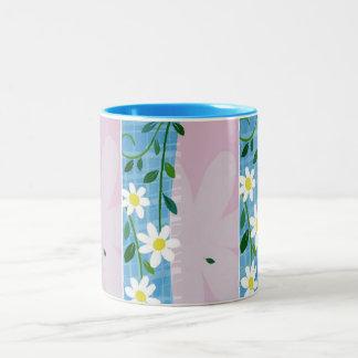 Mug-White Daisy on Blue & Lavender Design Two-Tone Coffee Mug