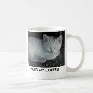 Mug-White-kitten-asleep, I NEED MY COFFEE!