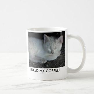 Mug-White-kitten-asleep, I NEED MY COFFEE! Basic White Mug