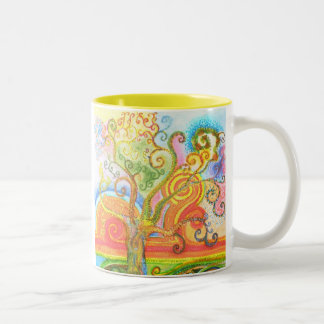 Mug with a Colourful Psychedelic Tree Design