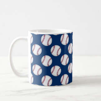 Mug with baseballs on blue background