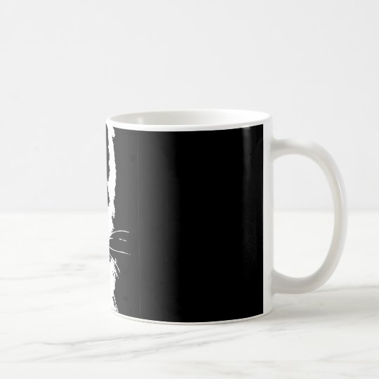 Mug with black and white print tiger