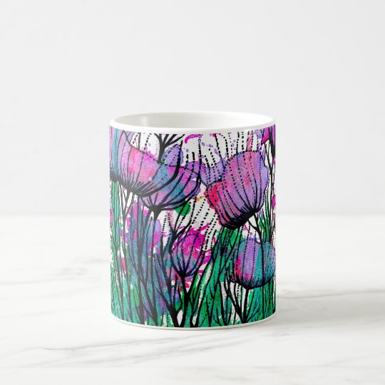 Mug with handpainted pink flowers