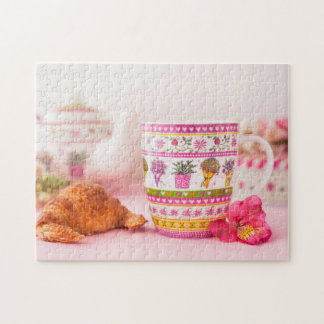 Mug With Tea, Croissant And Flower Jigsaw Puzzle