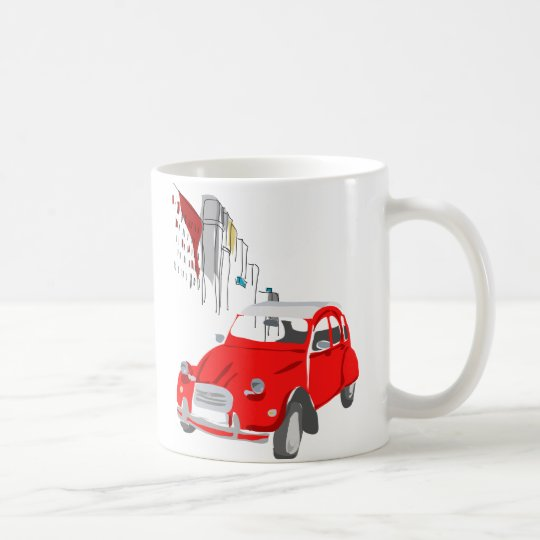 Mug with Vintage Style Citroen 2CV Car in