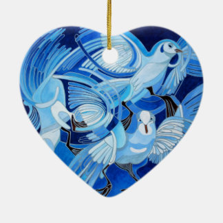 Muge's Pigeons in Blue Ceramic Heart Decoration