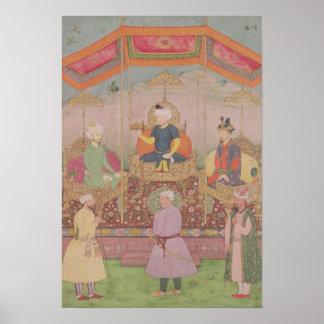 Mughal Emperor Babur and his son, Humayan Poster