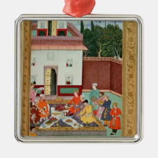 Mughal Emperor Feasting in a Courtyard Christmas Ornament