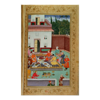Mughal Emperor Feasting in a Courtyard Posters