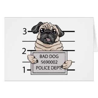 mugshot dog cartoon. greeting card