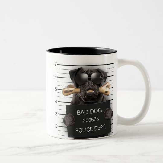 Mugshot dog,funny pug,pug Two-Tone coffee mug