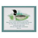 Muir Nature Quote, Watercolor Loon Wilderness Posters