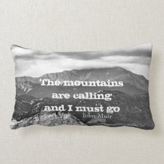 Muir quote throw pillow mountain landscape art