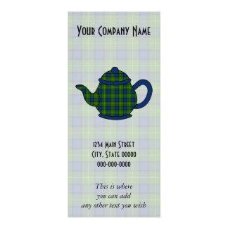 Muir Tartan Plaid Teapot Customised Rack Card