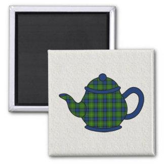 Muir Tartan Plaid Teapot Square Magnet