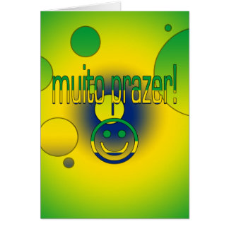 Muito Prazer! Brazil Flag Colors Pop Art Card