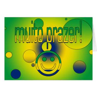 Muito Prazer! Brazil Flag Colors Pop Art Greeting Card