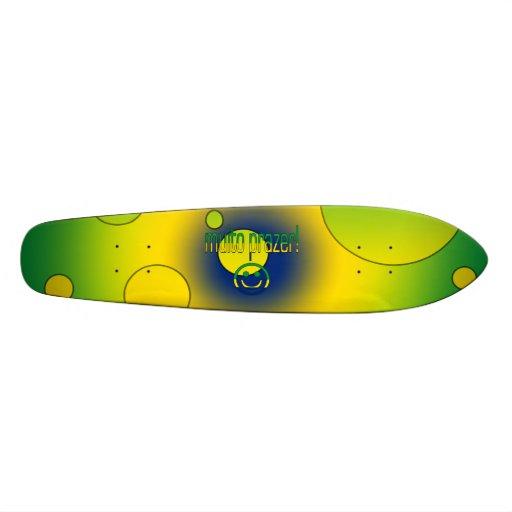 Muito Prazer! Brazil Flag Colors Pop Art Custom Skate Board