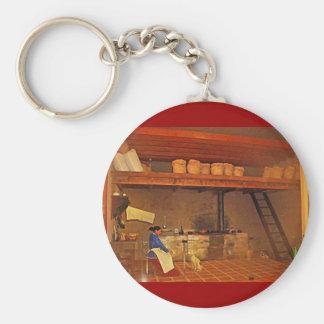 Mujer y su Perro en La Cocina - Food Museum Key Chain