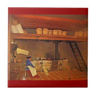 Mujer y su Perro en La Cocina - Food Museum Small Square Tile