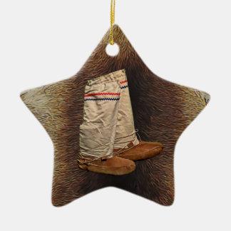 Mukluks On Caribou Fur Ceramic Star Decoration
