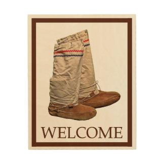 Mukluks - Welcome Wood Print