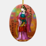 Mulan Double-Sided Oval Ceramic Christmas Ornament